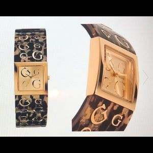 TORTOISE PRINT LUCITE WATCH BY GUESS